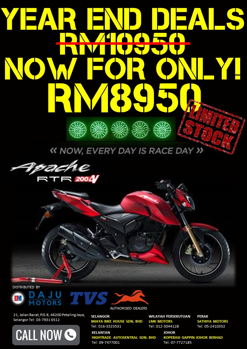 YEAR END SALE: TVS APACHE RTR 200 4V RACE EDITION 2.0